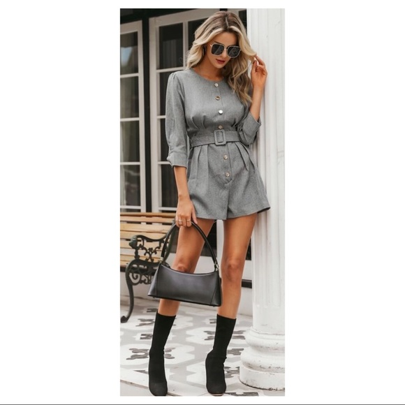 NWT Solid button detail belted romper